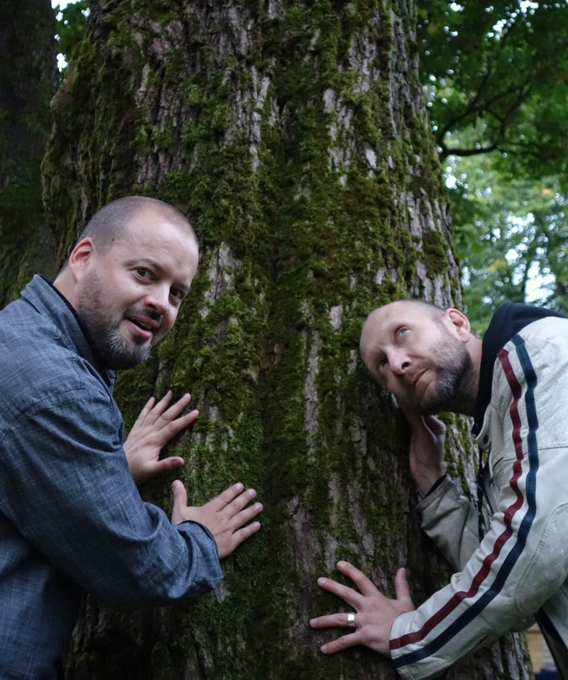 Iiro and Ville with a tree